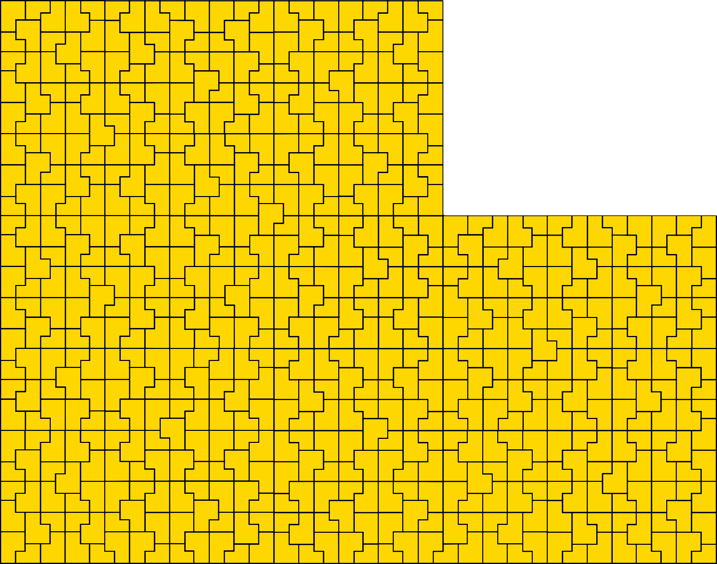 Golden b shapes tiling a plane